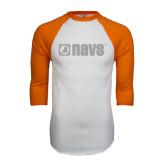 White/Orange Raglan Baseball T Shirt-NAVS