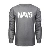 Grey Long Sleeve T Shirt-NAVS Brush Font