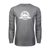 Grey Long Sleeve T Shirt-Eagle Lake Badge Distressed
