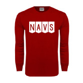 Cardinal Long Sleeve T Shirt-NAVS Block Flag Reverse Font