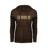 ENZA Ladies Brown Fleece Full Zip Hoodie-NAVS Foil