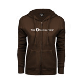 ENZA Ladies Brown Fleece Full Zip Hoodie-The Navigators