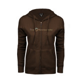 ENZA Ladies Brown Fleece Full Zip Hoodie-The Navigators Foil