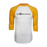 White/Gold Raglan Baseball T-Shirt-The Navigators
