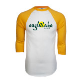White/Gold Raglan Baseball T-Shirt-Eagle Lake Camps