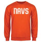 Orange Fleece Crew-NAVS Collegiate Modern