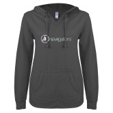 ENZA Ladies Dark Heather V Notch Raw Edge Fleece Hoodie-Navigators Foil