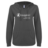 ENZA Ladies Dark Heather V Notch Raw Edge Fleece Hoodie-Navigators