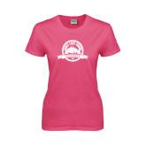 Ladies Fuchsia T Shirt-Eagle Lake Badge Distressed