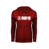 ENZA Ladies Cardinal Fleece Full Zip Hoodie-NAVS