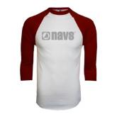White/Maroon Raglan Baseball T Shirt-NAVS