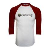 White/Maroon Raglan Baseball T Shirt-Glen Eyrie - Flat