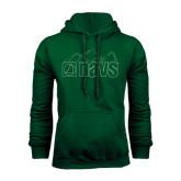 Dark Green Fleece Hood-NAVS Line Art Mountains