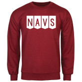 Cardinal Fleece Crew-NAVS Block Flag Reverse Font