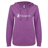ENZA Ladies Berry V Notch Raw Edge Fleece Hoodie-Navigators