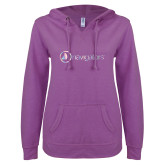 ENZA Ladies Berry V Notch Raw Edge Fleece Hoodie-Navigators Foil