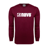 Maroon Long Sleeve T Shirt-NAVS