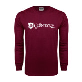 Maroon Long Sleeve T Shirt-Glen Eyrie - Flat