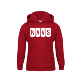 Youth Cardinal Fleece Hoodie-NAVS Block Flag Reverse Font