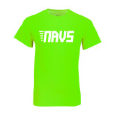 Neon Green T Shirt-NAVS Block Leaning Font w/Tails