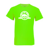 Neon Green T Shirt-Eagle Lake Badge Distressed