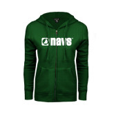 ENZA Ladies Dark Green Fleece Full Zip Hoodie-NAVS