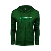 ENZA Ladies Dark Green Fleece Full Zip Hoodie-NAVS Foil