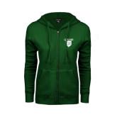 ENZA Ladies Dark Green Fleece Full Zip Hoodie-Glen Eyrie