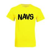 Neon Yellow T Shirt-NAVS Brush Font