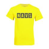 Neon Yellow T Shirt-NAVS Block Reverse