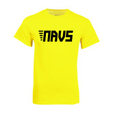 Neon Yellow T Shirt-NAVS Block Leaning Font w/Tails