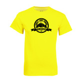 Neon Yellow T Shirt-Eagle Lake Badge Distressed
