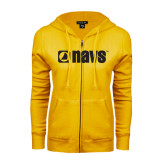 ENZA Ladies Gold Fleece Full Zip Hoodie-NAVS