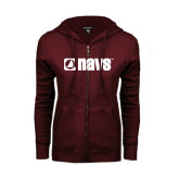 ENZA Ladies Maroon Fleece Full Zip Hoodie-NAVS