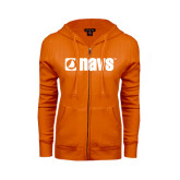 ENZA Ladies Orange Fleece Full Zip Hoodie-NAVS