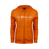 ENZA Ladies Orange Fleece Full Zip Hoodie-The Navigators