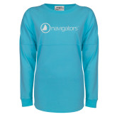 Turquoise Game Day Jersey Tee-Navigators White Soft Glitter