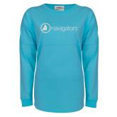 J America Turquoise Game Day Jersey-Navigators White Soft Glitter