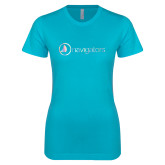 Next Level Ladies SoftStyle Junior Fitted Ice Blue Tee-Navigators Foil