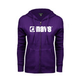 ENZA Ladies Purple Fleece Full Zip Hoodie-NAVS