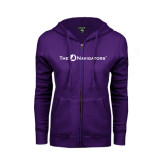 ENZA Ladies Purple Fleece Full Zip Hoodie-The Navigators