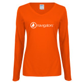 Ladies Orange Long Sleeve V Neck Tee-Navigators
