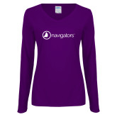 Ladies Purple Long Sleeve V Neck Tee-Navigators