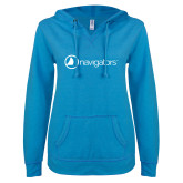 ENZA Ladies Pacific Blue V Notch Raw Edge Fleece Hoodie-Navigators