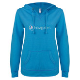 ENZA Ladies Pacific Blue V Notch Raw Edge Fleece Hoodie-Navigators Foil