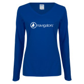 Ladies Royal Long Sleeve V Neck Tee-Navigators