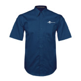 Navy Twill Button Down Short Sleeve-The Navigators