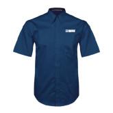 Navy Twill Button Down Short Sleeve-NAVS