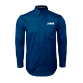 Navy Twill Button Down Long Sleeve-NAVS
