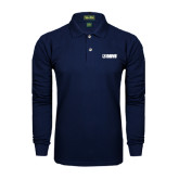Navy Long Sleeve Polo-NAVS